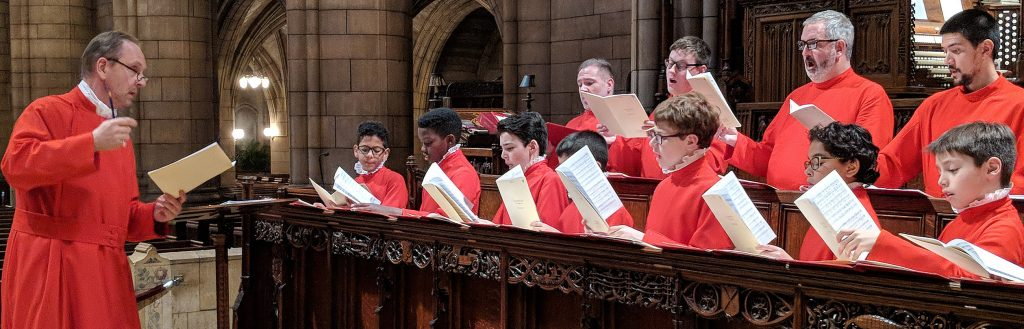 Saint Thomas Choir School students singing in choir